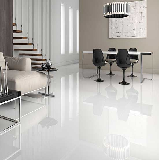 Polar Super White Polished Porcelain Tiles From Alistair Mackintosh