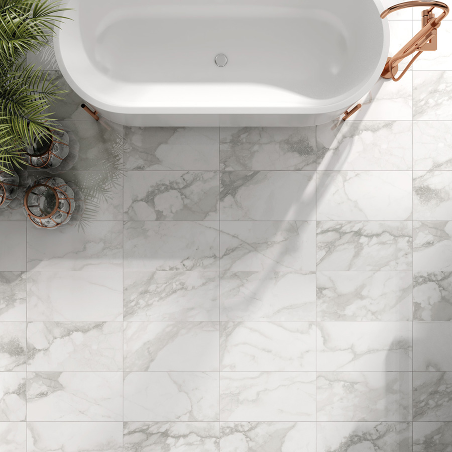 Calacatta Veria marble effect porcelain tiles product opt