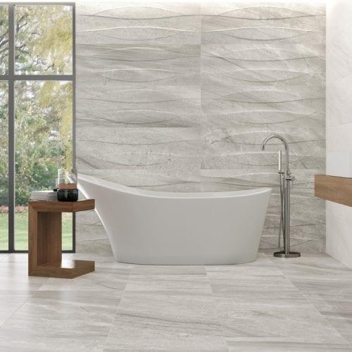 Rigo Silver stone effect porcelain tiles bathroom opt