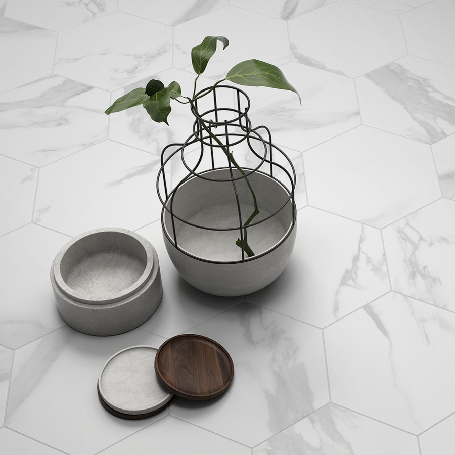 Statuario Hexagons product opt