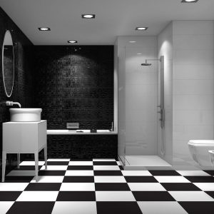 Checkerboard black and white porcelain tiles opt