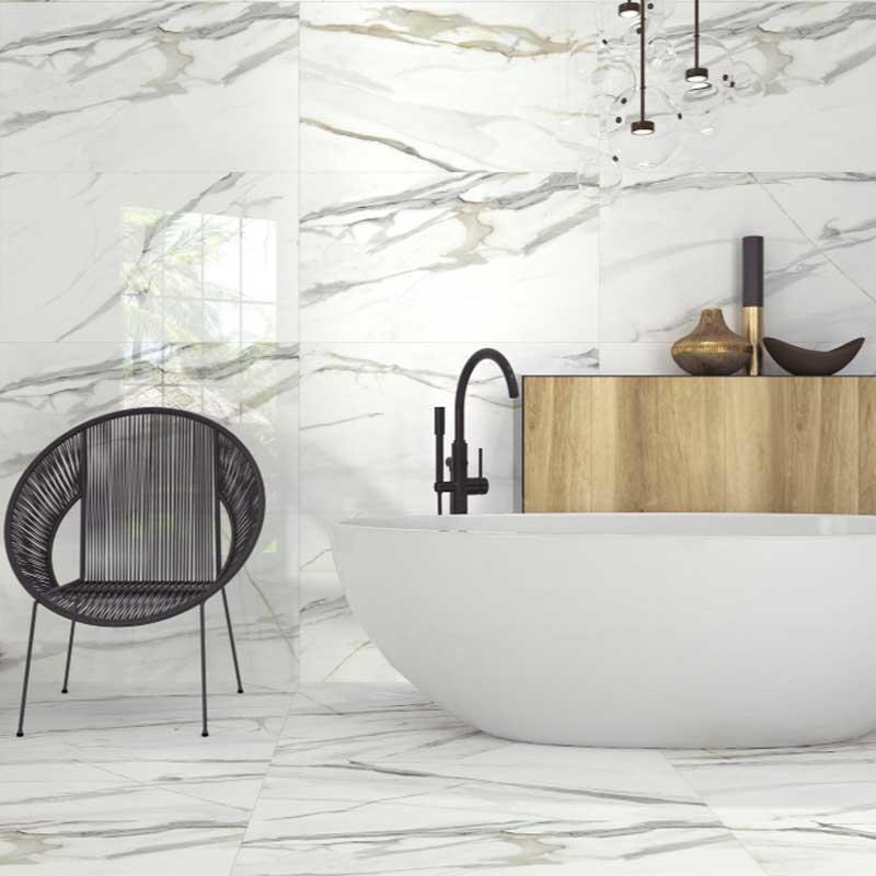 Calacatta Livorno porcelain tiles Bathroom opt