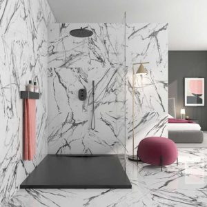 Larisa Black marble effect tiles Bathroom opt