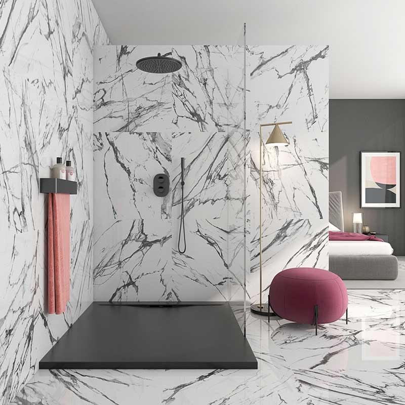 Larisa Black marble effect tiles Bathroom opt