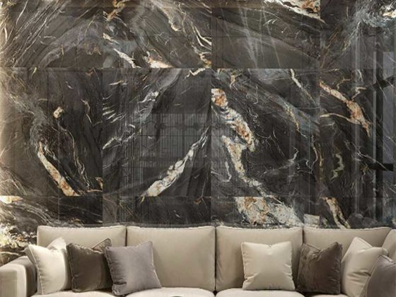 Cosmos Black marble porcelain tiles 1 opt