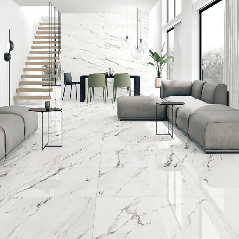 Statuario Supreme Marble porcelain tiles Room opt